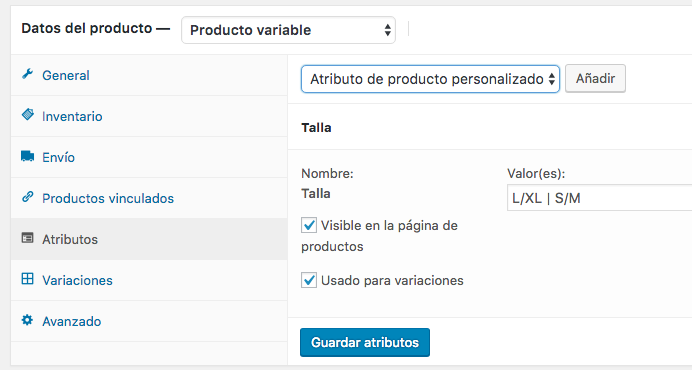 crear productos variables en Woocommerce