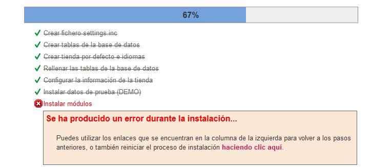Error al instalar los módulos