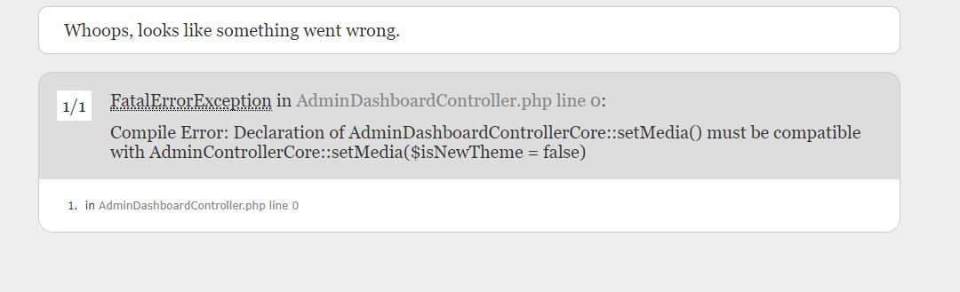 Prestashop FatalErrorException in AdminDashboardController.php line 0