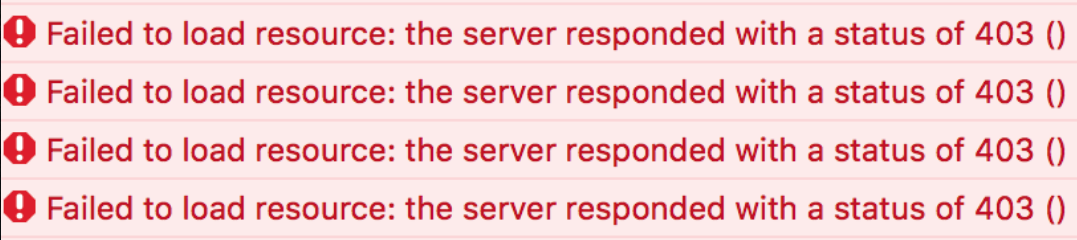 Failed to load resource: the server responded with a status of 403 ()